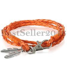 Men Women Silver Feather Bracelet Tribal Vintage Leather Cuff Bangle Adjustable