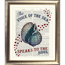 ART PRINT ON DICTIONARY BOOK PAGE Vintage SEA SHELL heart NAUTICAL Seaside Quote