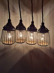 4 x Vintage Wire BirdCage Pendant Lights, Pifco Infradette Style, Antique look.