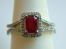 Lovely RUBY & DIAMOND Ring .83ctw  emerald cut ruby 14k solid white Gold $2700