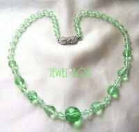 Signed VINTAGE 1950s Multi Facet PERIDOT CRYSTAL NECKLACE w LOVELY PASTE CLASP