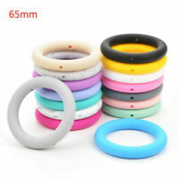 65mm Silicone Teether Ring Beads DIY Baby Chewable Nursing Teething Shower Gifts