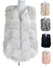 Woman New Ladies Diamond Shell Style Soft Silky Faux Fur Gilet Coat Vest Jacket