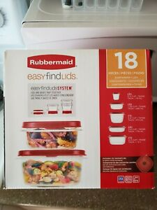 18 Pc Rubbermaid Easy Find Lids & Container Set