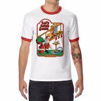 Let's Catch Santa funny Ringer T-shirt Men's Tops Cotton Short Sleeve Xmas Tee