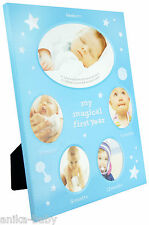 My First Year Photo Frame Gift Baby Boy Christening Gift 5 Month Stages Blue
