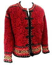 Icelandic Design Red Knot Button Cardigan Sweater Wool Blend Lined Jacket Coat M