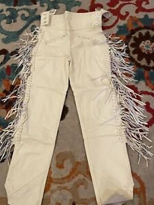 "32"" Mens Native American Beige Bucksin leather Cowboy pants fringes Western Hunt"