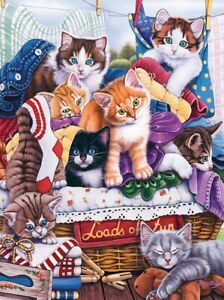 Jigsaw Puzzle Animal Cat Loads of Fun Laundry Day 300 EZ Grip pieces NEW Newland