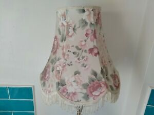 Vintage Victorian style cream & pink rose flower print fringed large lampshade