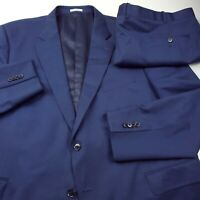 Peter Millar Wool Suit Jacket & Pants Men's Size 52R X 46 Solid Blue