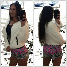 $189 SHILLA the Label Winter White SHAGGY teddy JACKET 8 Zip Front back lthr tri