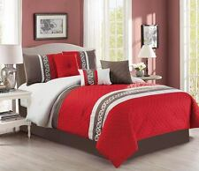 7 Pc CAL King Diamond Quilted Red Chocolate Brown Comforter Set Bed In a Bag
