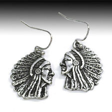 BURNISHED SILVER TINY INDIAN CHIEF SILHOUETTE EARRINGS WIRE DANGLE