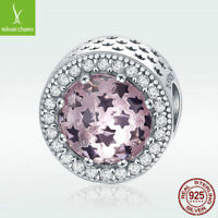 Pink Star S925 Sterling Silver Charm Bead CZ Pedant For Girl Bracelet Accessory
