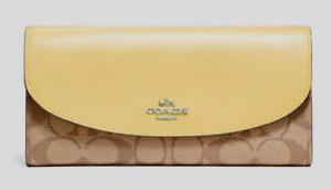 New Coach F54022 wallet Slim Envelope Signature Khaki Vanilla (Yellow)