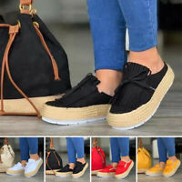 Women's Slipper Shoes Canvas Round Toe Flat Casual Platform Sneakers Loafers Hot