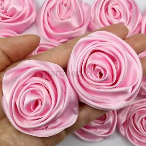 Lot 50pc Pink Satin Ribbon Rose Flowers Craft DIY Wedding Bouquet 50mm / 2""