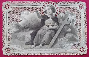 IMAGE PIEUSE CANIVET HOLLY CARD ESTAMPA RELIGIOSA FIN XIXème JESUS CROIX MOUTON