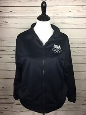 USA Olympic Zip Up Lightweight Softshell Jacket Navy Blue Size Medium