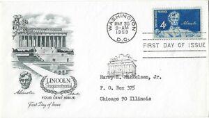 3 '59 FDCs Lincoln Sesquicentennial, 12c Benjamin Harrison, Comstock Lode