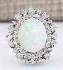 4.25 Carat Natural Opal 18K White Gold Diamond Ring