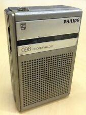 Radio De Bolsillo portátil Phillips Vintage 098 Plata Tono Cromo