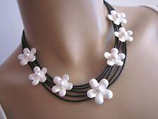 Modekette Collier Damen Hals Kette Leder Silber Schwarz Blumen Perle Aluminium