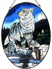 """Amia Stained Glass Suncatcher 6.5"""" X 9"""" Oval Wolf Howling Lesson Cubs #5633"""
