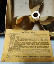 Vintage 1940s Michigan Full Brass 3 Blade Outboard Propeller W/ Box