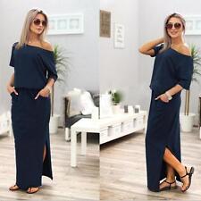 Womens Summer Long Maxi Dress Boho Evening Cocktail Party Dress Beach Sundress Blue M