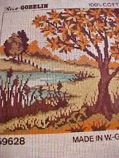 Needlepoint Canvas Hand Stitch Painted Rico Gobelin W Germany 12/24 Ct Landscape
