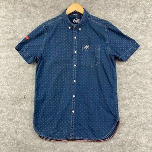 Superdry Mens Button Up Shirt Size XL Super Slim Fit Blue Short Sleeve 189.28