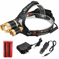 28000LM CREE XM-L T6 Zoomable Focus LED Headlight Head Lamp, 2x18650+Charger USA