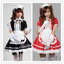Japanese Girl's Maid Skirt Waitress Fancy Dress Ruffle Lolita Cosplay Black/red