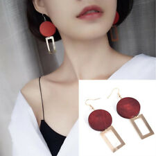 Big Long Drop Earrings Gold Red Party Dangle Round Square Wood Geometric Elegant
