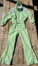 Obermeyer Vintage Women's Snowsuit Size 8 SILVER WINGS thinsulate BRIGHT MINT GR