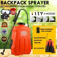 20L Backpack Sprayer 12V Electric Weed Rechargeable Farm Garden Pump Spray Pest