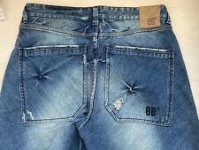 Blue Blood Bias Mens Jeans Distressed BLue Denim Wide Leg MZP03SB Sz 33-34 New