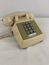 Vintage Push Button Phone Telephone ALMOND Cream Color Mid Century Very Clean