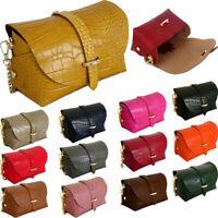 Italian Leather Small Cross Body Bag Over Shoulder Satchel Snakeskin Chain Strap