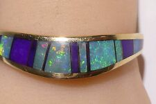 Thane DeLeon 14K Bracelet Yellow Gold Cuff Opal Charoite Inlaid Scottsdale