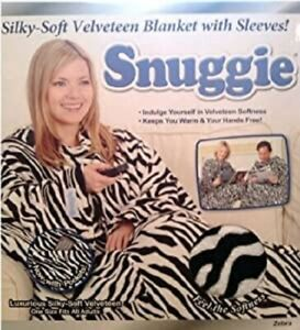 Snuggie VELVETEEN ZEBRA Original TV Blanket Sleeves/ POCKETS fleece Adult 1-Size