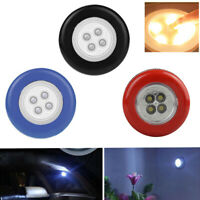EE_ Mini Portable 4LED Round Touch Light Battery Operated Lamp Stick On Nightlig