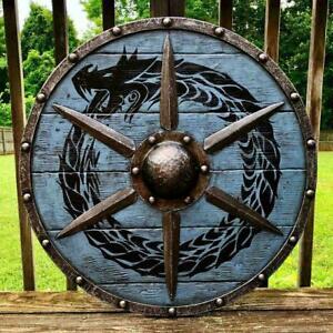 Medieval Ouroboros Battleworn Viking Shield 24'' VIKING wooden shield