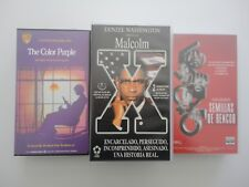 3 x peliculas video VHS Malcolm X El color purpura Semillas de rencor PAL