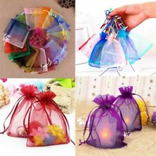 50pcs Organza Wedding Favors Jewelry Bags Drawstring Mesh Candy Gift Pouches
