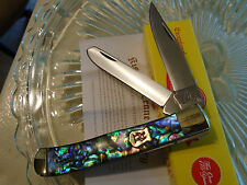 Kissing Crane Limited Genuine Abalone 2 Blade Trapper Pocket Knife 5220 Aus-8 SS