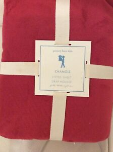 Pottery Barn Kids Luxe Chamois Full Fitted Sheet Red NWT! Christmas Holiday