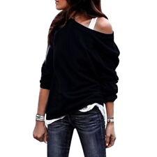Women Lady Off Shoulder T Shirt Tops Sweatshirt Jumper Sweater Pullover Blouse